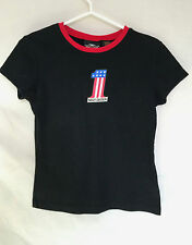Harley-Davidson Womens T-Shirt Small Number One Black Cap Sleeves Made In USA