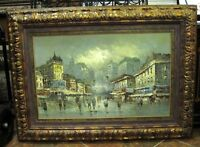 ESTATE Large Oil Painting Venice Italy Crowd European Art Deco  Artist Signed