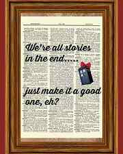 Doctor Who Dictionary Tardis stories end TV bow Art Print Book Page Mixed Media