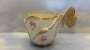 ANTIQUE ca.1890 A K LIMOGES ROSES BUTTERFLY HANDLE DEMITASSE TEA CUP & NO SAUCER