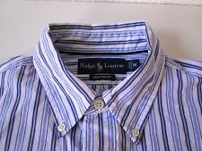 Ralph Lauren Custom Fit Herren Hemd Langarm Weiß/Blau Gestreift Gr. M / 15