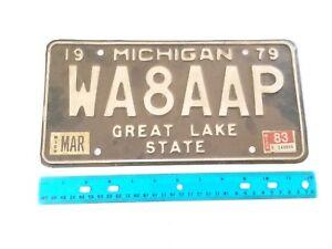 1979 Michigan AMATEUR HAM RADIO License Plate WA8AAP