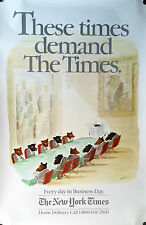 """SEMPE NEW YORK TIMES ADVERTISING POSTER BULLS AND BEARS 46"""" X 30"""" VERY RARE"""