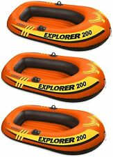 3 Pack Intex 2 Person Explorer 200 Inflatable River Boat Raft for Kids, Adults