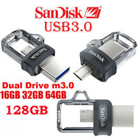 Genuine SanDisk Ultra 32GB 64GB 128GB USB OTG Dual Drive m3.0 Memory Stick