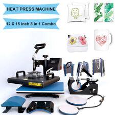 8 In 1 Heat Press Machine 12x15 Transfer Sublimation T Shirt Mug Hat Plate Cap