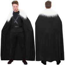 LONG BLACK CLOAK WITH FAUX FUR COLLAR MEDIEVAL CAPE VIKING THRONES CHARACTER