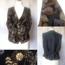 Vintage 1970s 80s Black Gold Silver Bronze Sparkly Velvet Waistcoat Size M 14 16