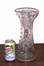 "ABP Clear Pressed & Deep Cut Glass 12"" Corset Shape Vase - Cane, Flowers, Leaves"