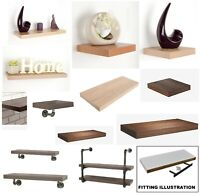 WOOD EFFECT FLOATING SHELF SHELVES DISPLAY UNIT WALL MOUNTED + FITTINGS BRACKETS