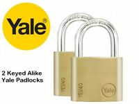 2 PACK YALE SECURITY PADLOCKS 40mm - KEYED ALIKE - SOLID BRASS - NEW