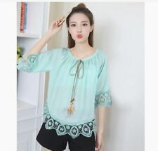 OFFSHOULDER BOHO TOP EO  -  BLUE GREEN