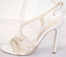 RENE CAOVILLA White Silver Gold Crystal Bead Embellished Sandals Shoes 36.5