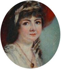 Peinture miniature du 19e siècle portrait de Miss Chambers