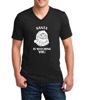 Men's V-neck Santa Is Watching You T Shirt Christmas Xmas T-shirt Tee Funny Gift