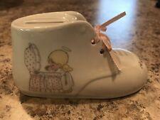 Precious Moments Coin Bank Baby Girl Shoe 1990 Enesco