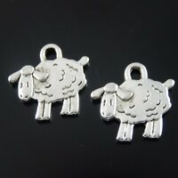 60X Antike Silber Legierung Niedlichen Schafe Charme Anhänger Schmuck 38933