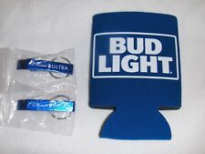 Bud Light Can Koozie Plus 2 Michelob Ultra Bottle Openers Key Rings New