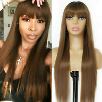 Long Straight Brown Wig with Bangs Synthetic Ombre Brown Wigs for Women Natural