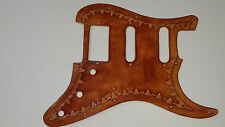 """Leather pickguard Fender Stratocaster HSS hand tooled """"borders"""""""