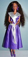 Mattel Twist N Turn Barbie Doll in purple satin dress, shoes and earrings