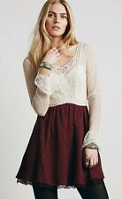 NEW Free People Victorian Lace Brocade Long Sleeve Ivory/Burgundy Dress Size 12