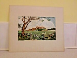 WATERCOLOUR PAINTING SIGNED BY C.R.NICHOLSON 1965 (BAMBURGH CASTLE