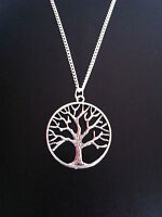 """SILVER TREE OF LIFE CHARM NECKLACE 16"""" 18"""" 20"""" CHAIN FREE GIFT BAG UK SELLER"""