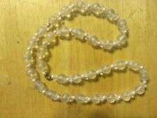 """Strand w/pearl Beaded Necklace! Sweet! Vintage Jewelry 30"""" Clear White"""