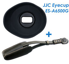 JJC ES-A6500G Silicone Oval Eyecup + Genuine Leather Hand Strap for Sony A6500