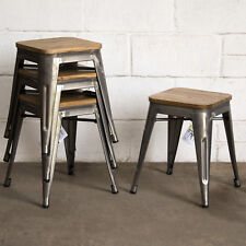 TOLIX STYLE RUSTIC VINTAGE METAL BAR STOOL DESIGN KITCHEN DINING SEAT FURNITURE