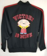 "Men FAMILY GUY STEWIE ""VICTORY IS MINE"" FULL ZIP BLACK TRACK JACKET SIZE Small"