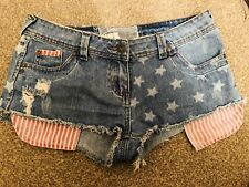 New Look Yes Yes Denim Stars Stripes USA 🇺🇸 Hotpant Shorts Size 10 Rrp 19.99