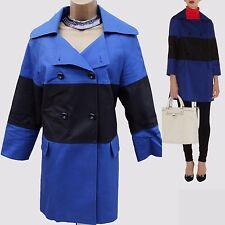 Karen Millen Black Blue Cotton Graphic Casual Trench Slip On Mac Jacket Coat 10