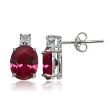 Sterling Silver Created Ruby and Diamond Accent Cushion-cut Drop Stud Earrings