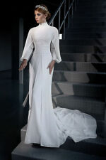Choker Neck A-line Long Sleeve Wedding Dresses