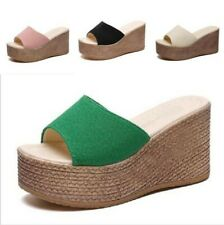 Women Wedge Thick Slippers Platform Thong Sandals Beach Summer Shoes 4 Colors