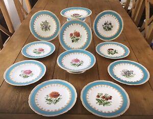 Antique Mintons Dessert Service Turquoise Rim Botanical Cabinet Plates C 1860