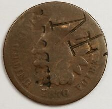 """1870 Indian Head Cent.  Counter stamped """"Abbott"""" """"NF"""".  Good.  119205"""