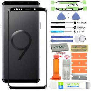 Samsung Galaxy S9 Plus Replacement Screen Glass Lens Repair Kit Black + UV Glue