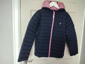 Girls Joules navy blue light weight hooded quilted  jacket aged 9-10 years