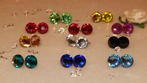 G/P Stud Earrings & 10mm Resin Rhinestones- Wedding-Gifts-Anniversary-12 Colours