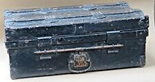 JONES BROS & CO TRAVEL steamer METAL TRUNK  Wood strips rolling wheel Label 1900