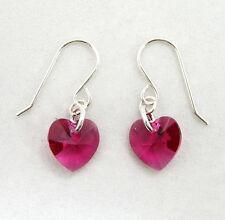 Sterling Silver Drop Earrings with SWAROVSKI ELEMENTS Crystal Heart Fuchsia Pink