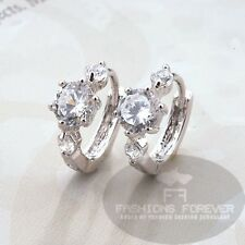FASHIONS FOREVER® Three-CZ Stone Hoop-earring Platinum-plated UK Seller