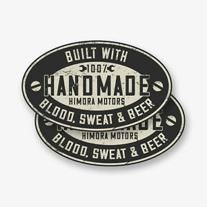 2x Handmade Sticker Aufkleber // Motorrad Auto Tuning Oldtimer Garage Werkstatt