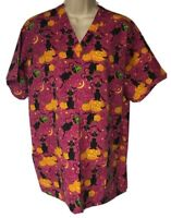 Med-Wear Scrub Top Size M Pumpkins Bats Moons Halloween Medical Dental Vet