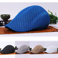 Men Women Mesh Breathable Peaked Cap Cabbie Golf Driving Newsboy Flat Beret Hat