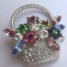 jolie broche bijou vintage couleur argent panier de fleurs cristal diamant 2385