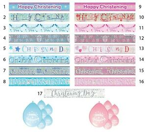 CHRISTENING BANNERS PARTY DECORATIONS BOY GIRL BLUE PINK IN MANY DESIGNS